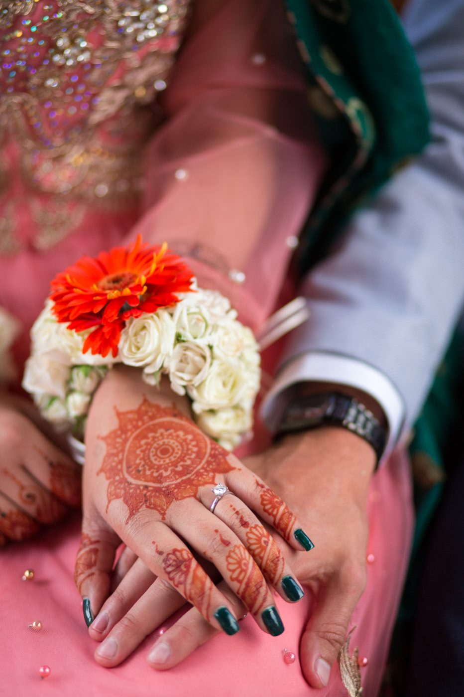 Bride/Groom ring ceremony and Nikkah, hand in hand