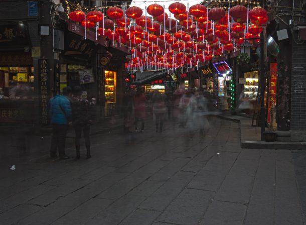 Street photography of entrance floating lanterns in Ciqikou.