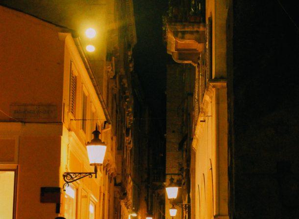 Silhouettes of nighttime alleys of Split, Croatia.