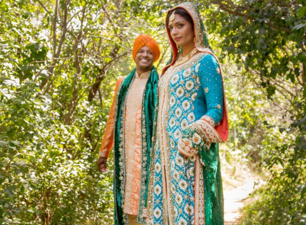 South Asian/Indian/Punjabi Bride and Groom in Forest