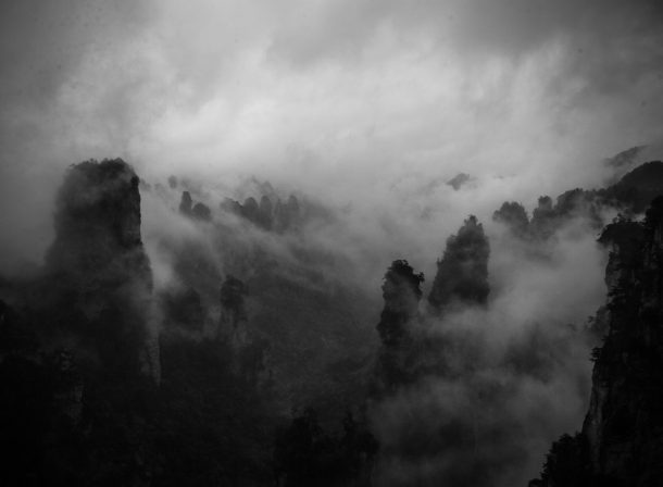 Black and white travel landscape photography of the inspiration for the Hallelujah Mountains from Avatar.