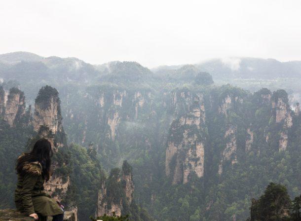 Landscape photography of column mountains in Zhangjiajie, China.