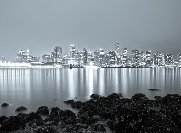 Black and white travel photography of Vancouver skyline, HDR.