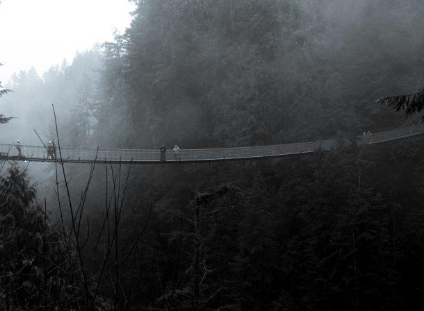 Greyscale Capilano Bridge in Vancouver, British Columbia (BC).