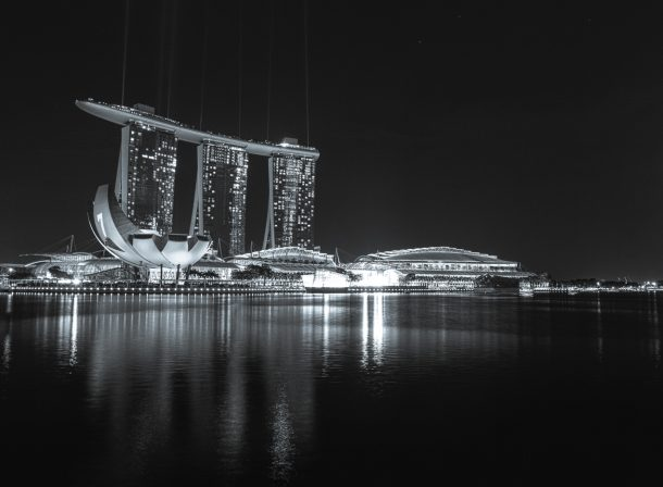 Marina Bay Sands Hotel in Singapore. Black and white landscape travel photography.