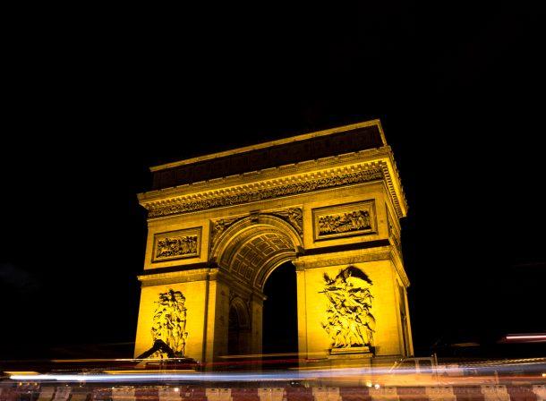 Long exposure of l'Arc de Triomphe in Paris, France.
