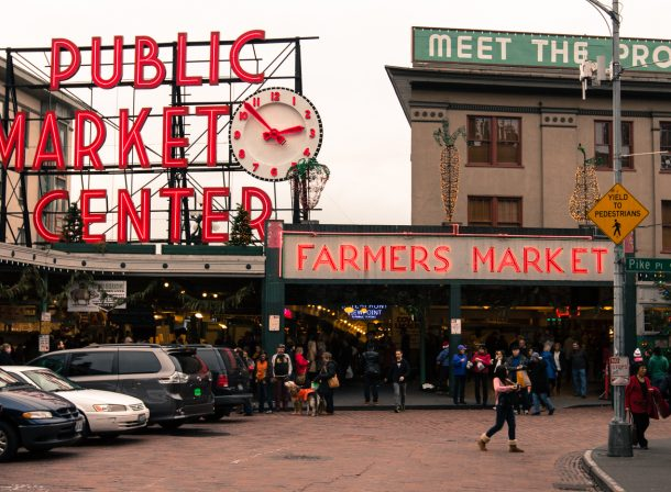Pike Place Market in Seattle, Washington. Street photography.