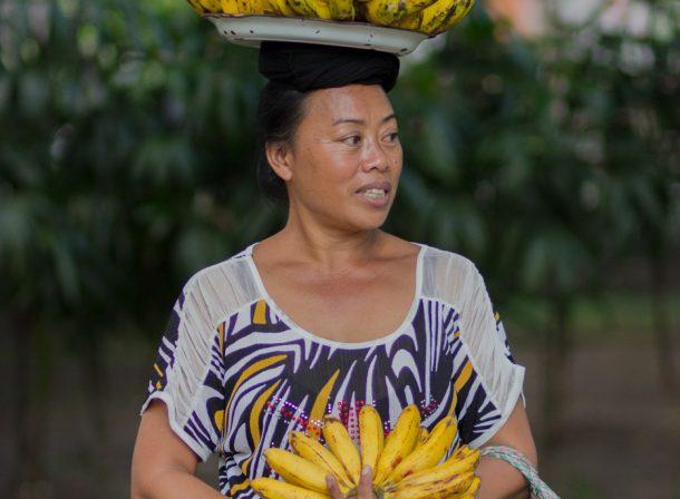 Banana vendor woman in Bali, Indonesia.
