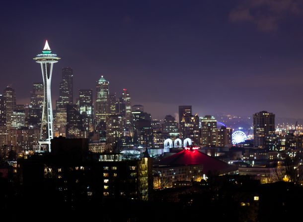 Long exposure of Seattle skyline in Washington, from Kerry Park.