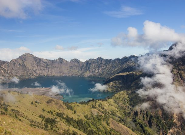 Travel landscape photography. Crater lake in the Rinjani Volcano in Lombok, Indonesia.