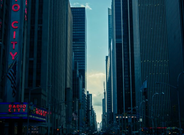 """Vertical urban travel photo of Chicago """"Radio City"""" sign in the early evening. Illinois, United States."""