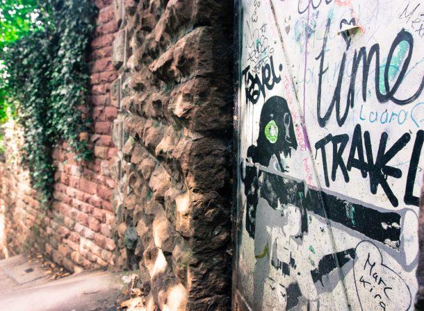 Travel photography. Graffiti going up towards Heidelberg Castle (Schloss Heidelberg) in Germany.