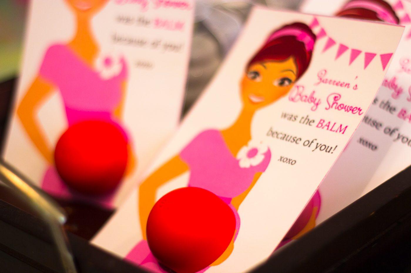 EOS Balm Baby Shower decor, thank you cards.