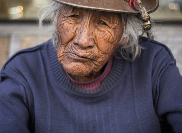 Street portrait photography. Oldest woman in Arequipa, Peru. Homeless and lives on the streets.
