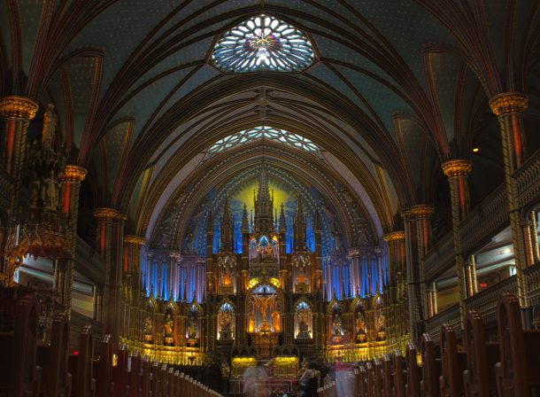 Travel Photography. Interior architecture of Notre Dame Cathedral in Montreal, Quebec, Canada. Inspired by the same in Paris, France.