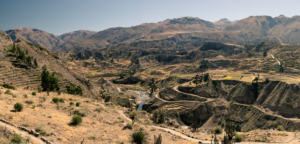 Travel photography. Panorama of Colca Canyon, Arequipa, Peru. Deepest canyon in the world - Grand Canyon reign is a myth!