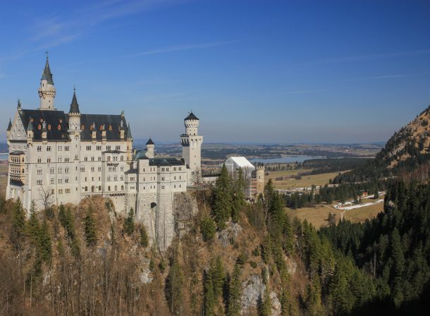 Magical white Neuschwanstein Castle in Germany.