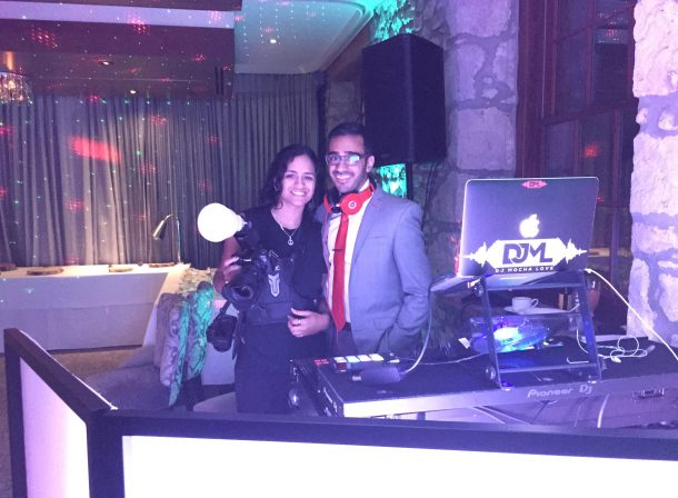 Six Side Entertainment COO and CEO at a client wedding reception.